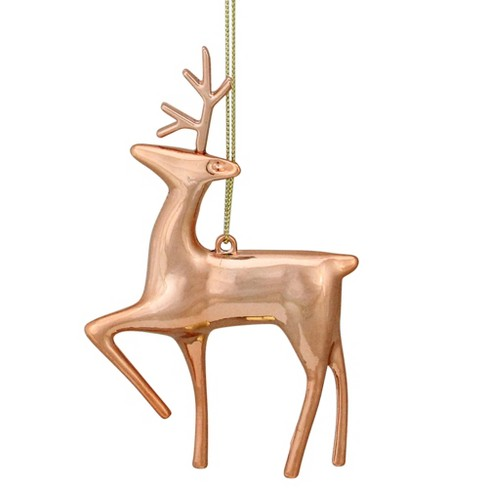 "Northlight 4.75"" Shiny Rose Gold Metal Reindeer Christmas Tree Ornament - image 1 of 2"
