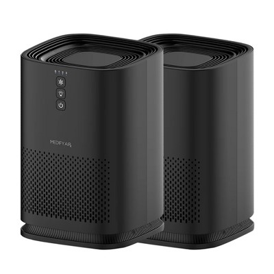 Medify Air MA-14 Compact Portable Tabletop Indoor Home Personal Air Purifier with True H13 HEPA Filter for 200 Square Foot Rooms, Black (2 Pack)