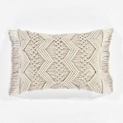 "13""x20"" Studio Chevron Macrame Lumbar Throw Pillow Cover Neutral - Lush Décor"