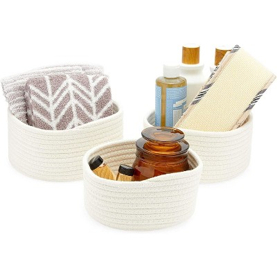 Farmlyn Creek 3-Pack Round Cotton Woven Baskets for Storage, White Home Organizers (3 Sizes)