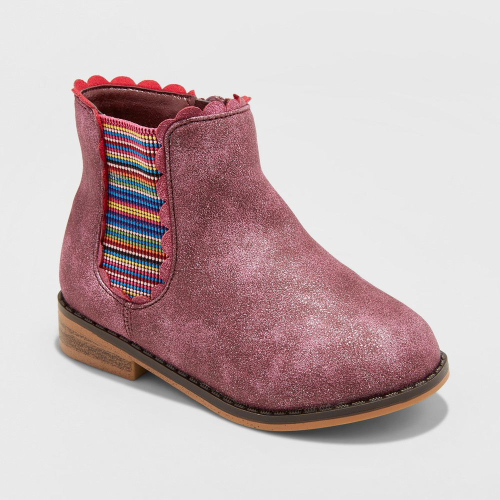 Toddler Girls' Ashley Elastic Gore Ankle Boots - Cat & Jack Burgundy 7, Red