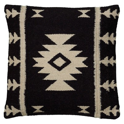 Black/Ivory Southwestern Stripe Throw Pillow 18 x18  Rizzy Home®
