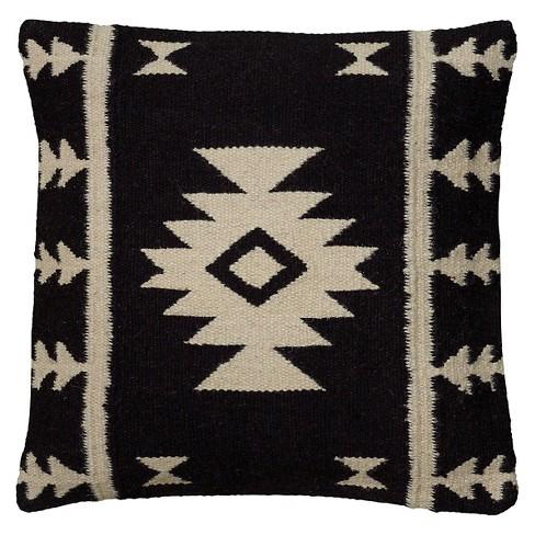 "18""x18"" Southwestern Stripe Throw Pillow Black/Ivory - Rizzy Home - image 1 of 4"