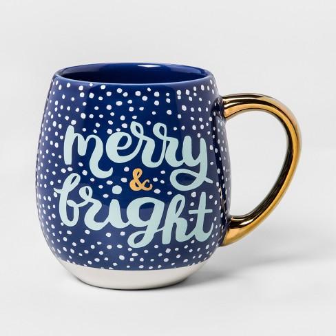 Stoneware Merry And Bright Mug 17 5oz Blue White Gold Threshold