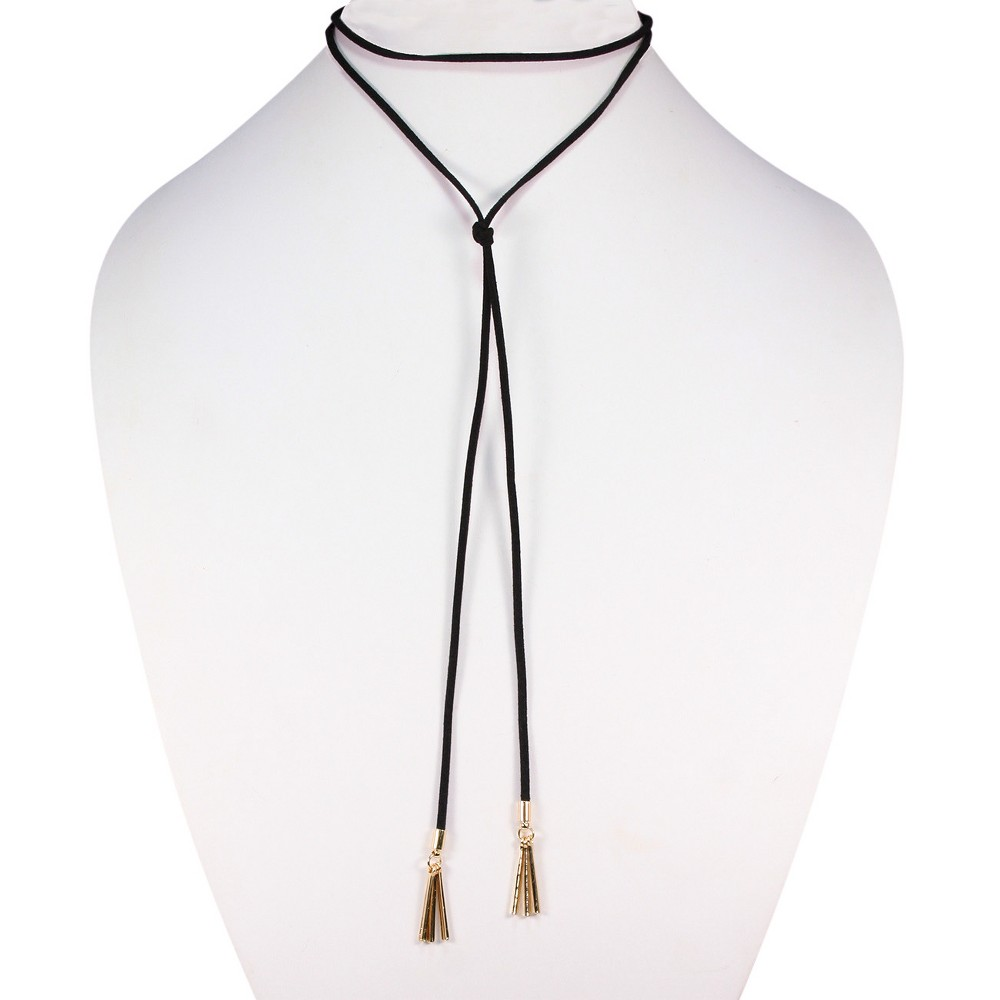 Suede Cord Wrap Choker with 3 Gold Bar Drop each side - 26 - Black