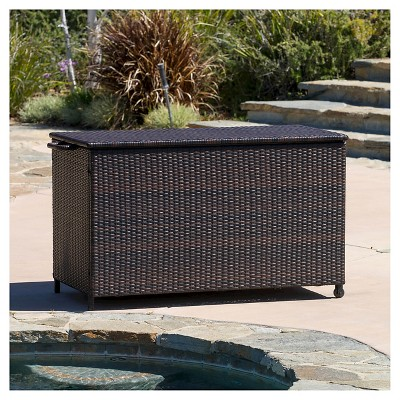 Small Wicker Patio Cushion Box   Brown   Christopher Knight Home : Target