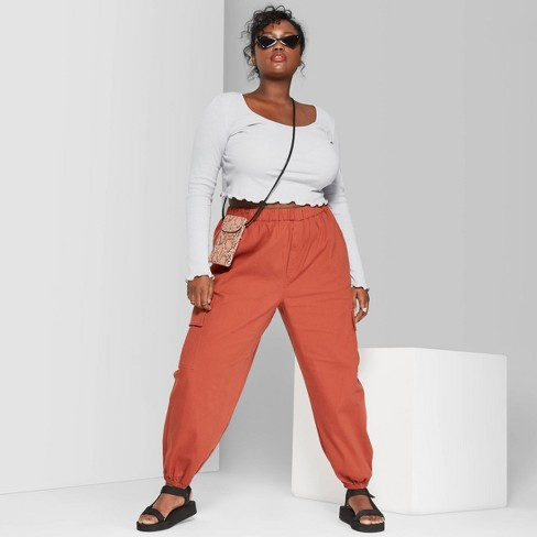 Women's Plus Size High-Rise Baggy Cargo Pants - Wild Fable™ Red - image 1 of 3