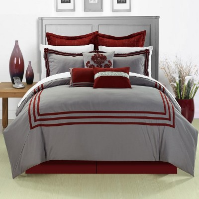 Chic Home Elegant Cosmo Embroidered Oversized Microfiber Comforter Bed In A Bag Set, 12 Piece - Burgunday Grey
