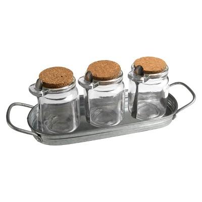 7pc Masonware Spice Jar Set with Spoons and Tray - Artland