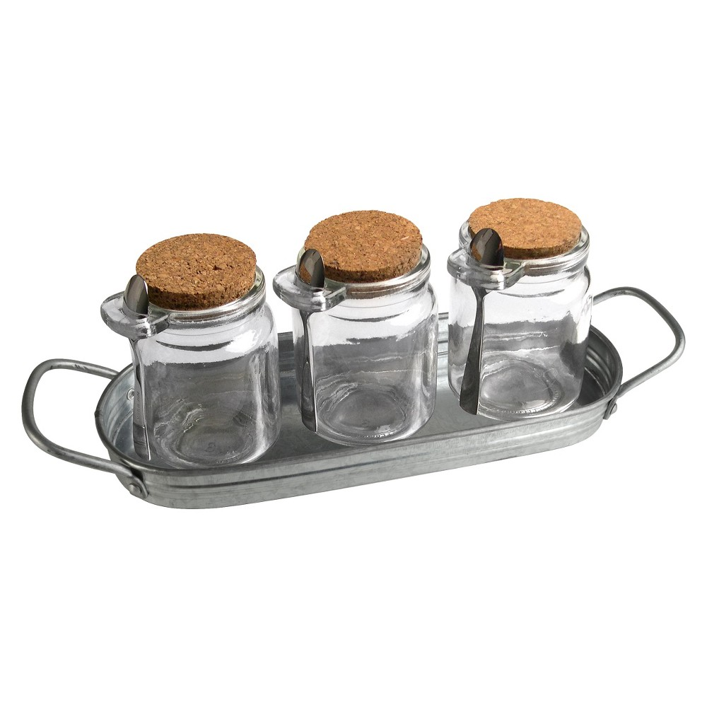 Image of 7pc Masonware Spice Jar Set with Spoons and Tray - Artland, Clear