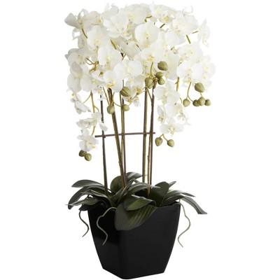 Dahlia Studios Modern Large White Faux Orchid in Black Pot