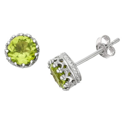 6mm Round-cut Peridot Crown Earrings in Sterling Silver
