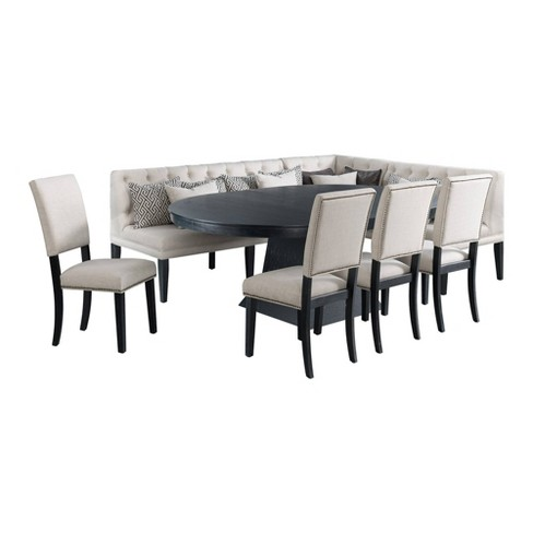 8pc Mara Oval Extendable Dining Table Set 4 Side Chairs And Banquette Seating Taupe Dark Oak Picket House Furnishings Target