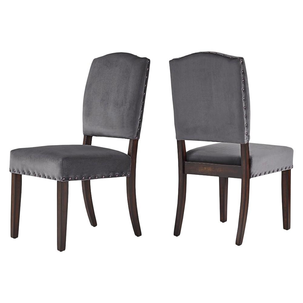 Cobble Hill Velvet Nailhead Dining chair Set of 2 Dark Gray - Inspire Q, Grey