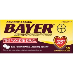 Bayer Genuine 325mg Pain Reliever & Fever Reducer Tablets - Aspirin (NSAID)