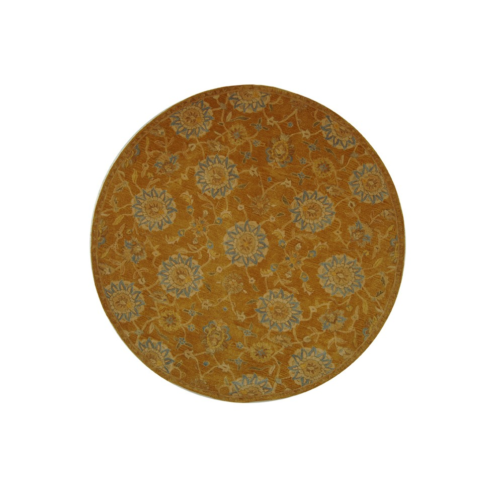 Gold/Blue Floral Tufted Round Area Rug 8' - Safavieh, Goldnblue