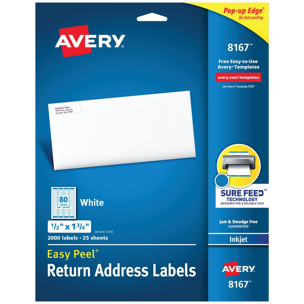 Avery 08167, Easy Peel Inkjet Address Labels, 1/2 x 1 3/4, White, 2000pk