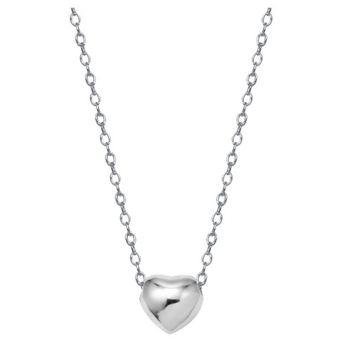 "Women's Sterling Silver Heart Necklace - Silver (18"") - image 1 of 2"