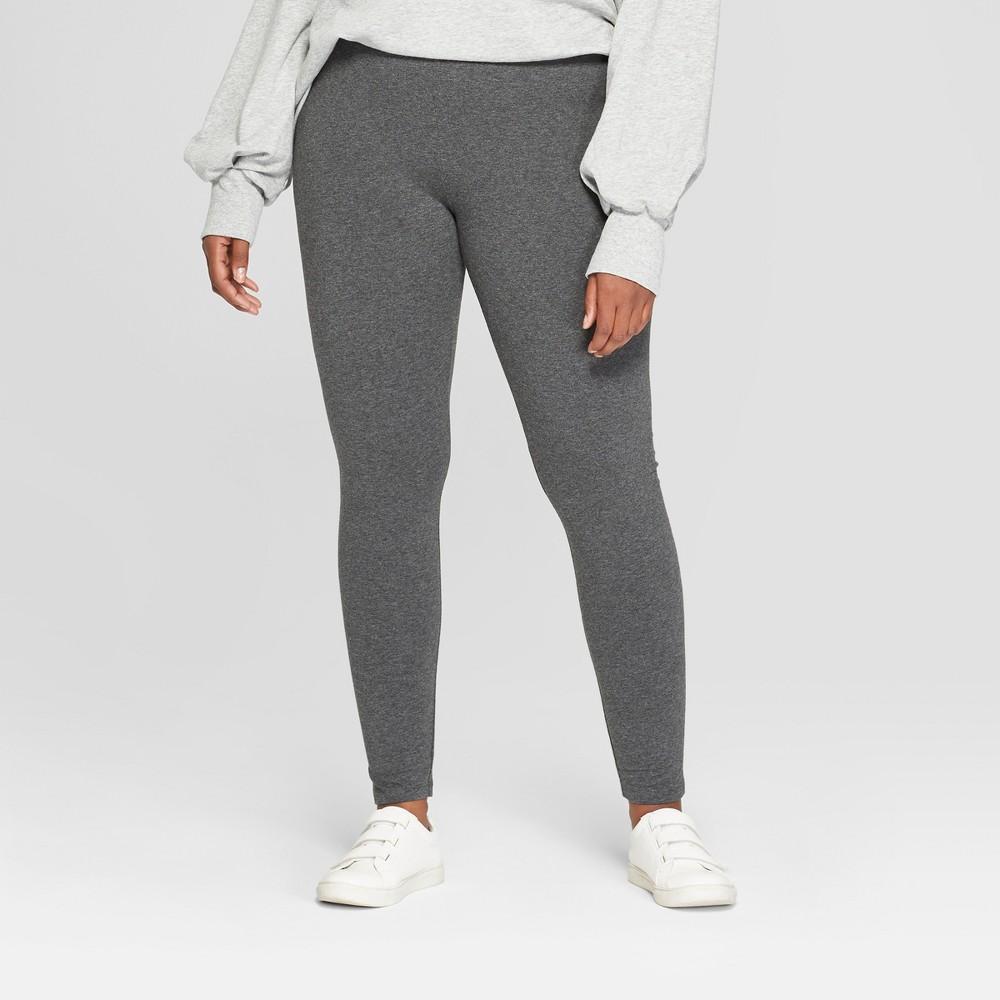 Women's Plus Size Leggings - Ava & Viv Dark Heather Gray 2X