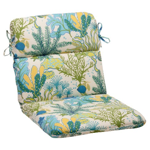 Outdoor Rounded Chair Cushion - Green/Blue Ocean Scene - image 1 of 4