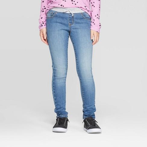 Girls' Knit Waist Jeans - Cat & Jack™ Medium Wash - image 1 of 3