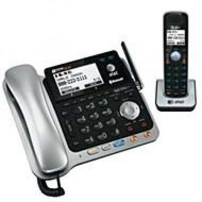AT&T TL86109 DECT 6.0 2-Line Expandable Corded/Cordless Phone with Bluetooth Connect to Cell and Answering System, Silver/Black, 1 Handset