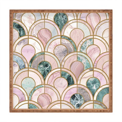 Emanuela Carratoni Rose Gold Marble Inlays Square Bamboo Tray - Deny Designs