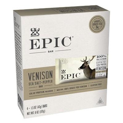 EPIC Venison Sea Salt & Pepper Nutrition Bar - 6oz 4ct