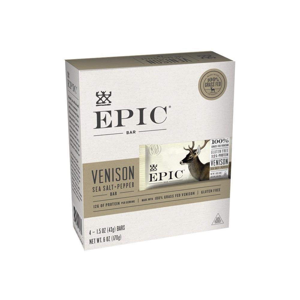 Epic Venison Sea Salt Pepper Nutrition Bar 6oz 4ct