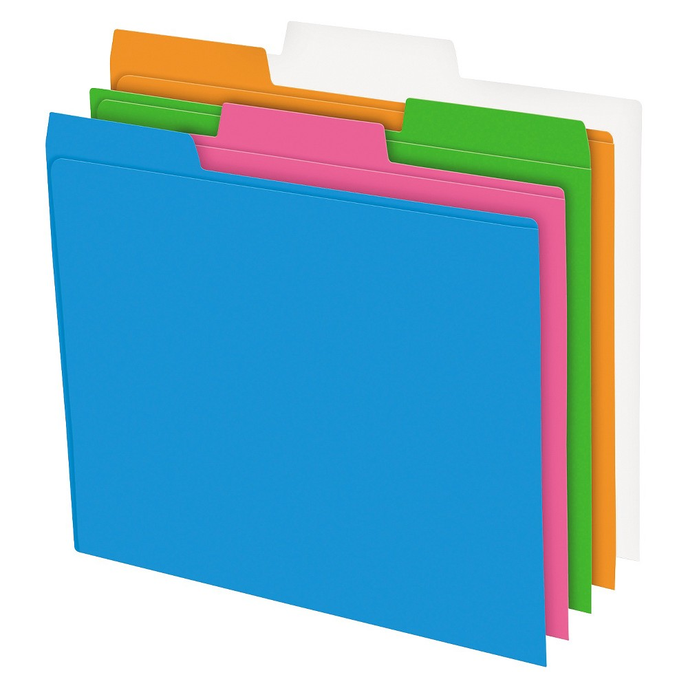 Image of Pendaflex Glow Poly File Folders, 1/3 Cut Top Tab, Letter, Assorted Colors, 12/pack