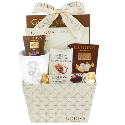Godiva Truffles, Coffee and Chocolate Hot Cocoa Gift Basket Includes 10oz White Mug