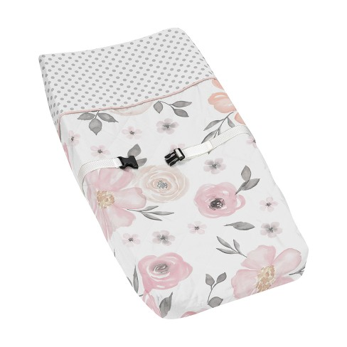 Sweet Jojo Designs Changing Pad Cover - Watercolor Floral - Pink/Gray - image 1 of 1