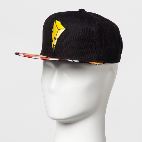Men's Power Rangers Lightning Bolt Baseball Cap - Black One Size - image 1 of 3