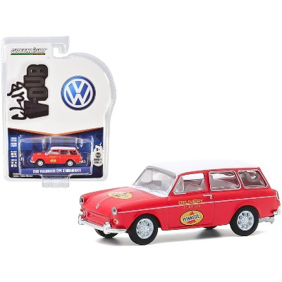 "1965 Volkswagen Type 3 Squareback ""Pennzoil Delivery Service"" Red with White Top ""Club Vee V-Dub"" Series 11 1/64 Diecast Model Car by Greenlight"