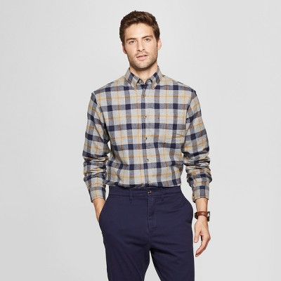 f005e9b4ad18 Men s Plaid Standard Fit Long Sleeve Pocket Flannel Collared Button-Down  Shirt - Goodfellow   Co™ Comet Gold L   Target