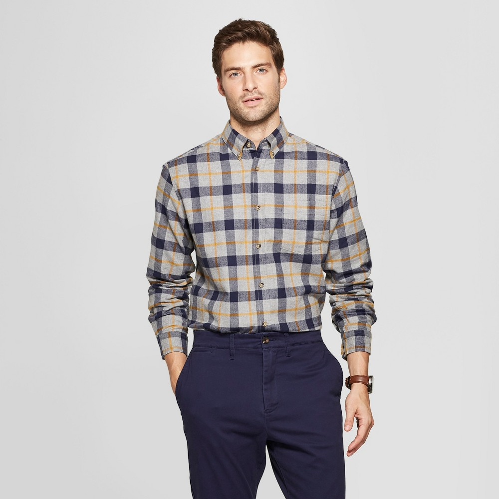 Men's Plaid Standard Fit Long Sleeve Pocket Flannel Collared Button-Down Shirt - Goodfellow & Co Comet Gold M