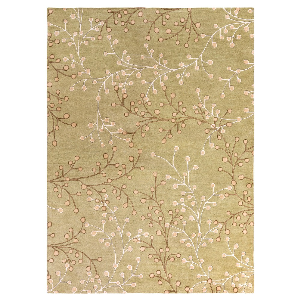 Taupe/Olive (Brown/Green) Botanical Area Rug (8'x11') - Surya