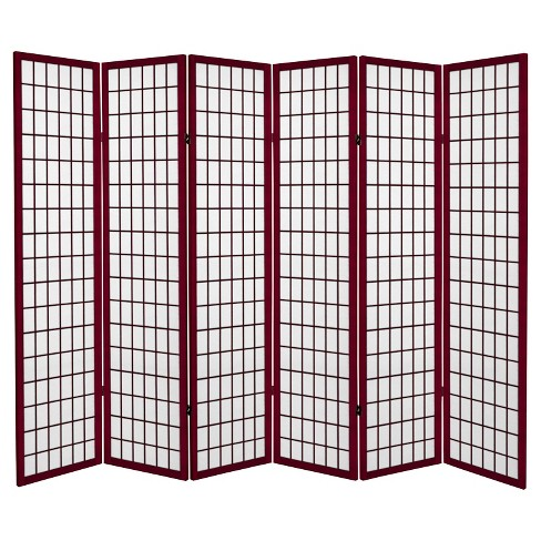 Tall Canvas Window Pane Room Divider Rosewood 6 Panels