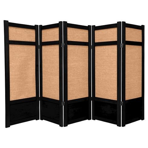 4 Ft Tall Low Jute Shoji Screen Black 5 Panels Target