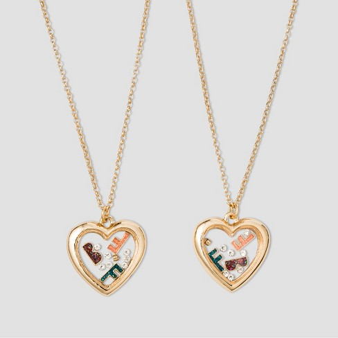 Girls' Heart Locket BFF Necklace - Cat & Jack™ One Size - image 1 of 2