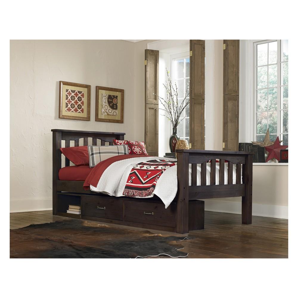 Twin Highlands Harper Panel Bed with Storage Espresso (Brown) - Hillsdale Furniture