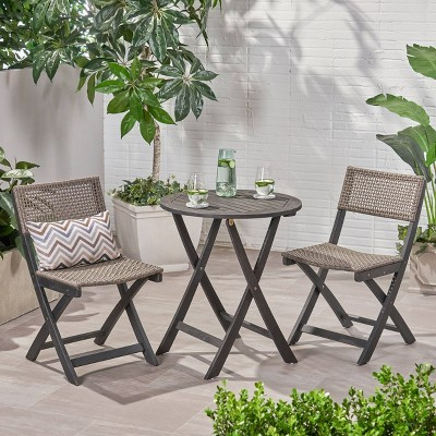 Hillside 3pc Wood and Wicker Foldable Bistro Set Dark Gray/Brown - Christopher Knight Home