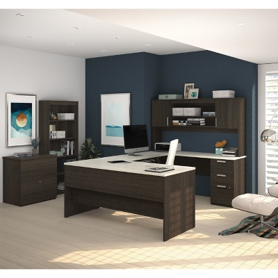 Merveilleux Ridgeley U Shaped Desk With Lateral File And Bookcase   Bestar