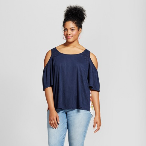283bf5be521 Women s Plus Size Cold Shoulder Top Blue - Born Famous (Juniors ...