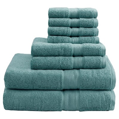 8pc Bath Towel Set Green