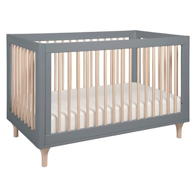 Babyletto Lolly 3-in-1 Convertible Crib with Toddler Rail - Gray/Washed Natural
