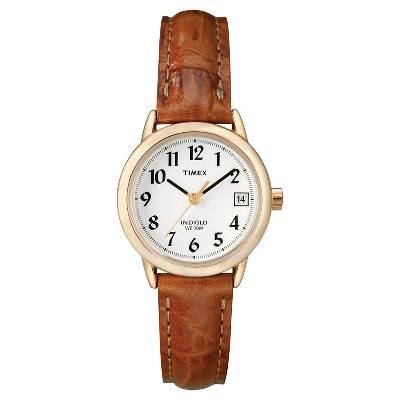 Women's Timex Easy Reader Watch with Leather Strap- Gold/Brown T2J7619J