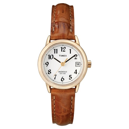 Women's Timex Easy Reader® Watch with Leather Strap- Gold/Brown T2J7619J - image 1 of 1