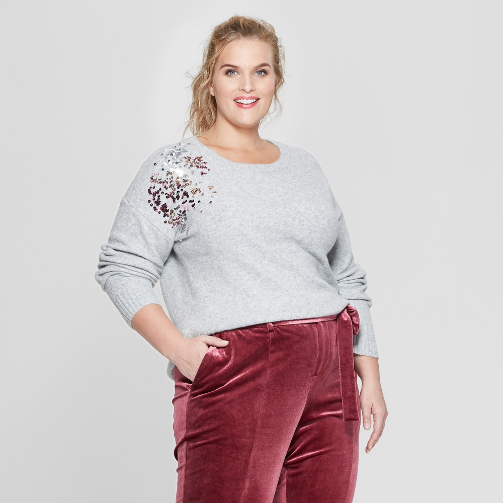 Women's Plus Size Placed Sequin Long Sleeve Pullover - Ava & Viv Gray 3X