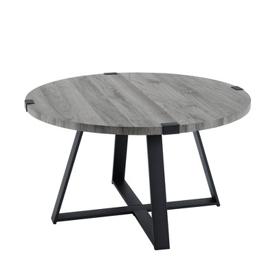 "30"" Round Urban Industrial Wood and Steel Coffee Table Slate Gray - Saracina Home"